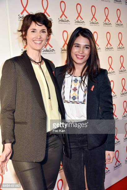 Eglantine Emeye and Emilie Tran Nguyen attend the Sidaction 2017 Launch Party Photocall at Musee Branly on March 07 2017 in Paris France