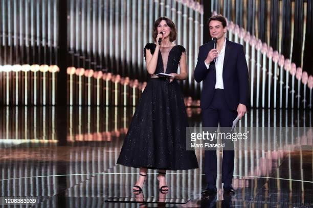 Eglantine Emeye and Julian Bugier attend the 35th 'Les Victoires De La Musique' Show At La Seine Musicale on February 14 2020 in BoulogneBillancourt...