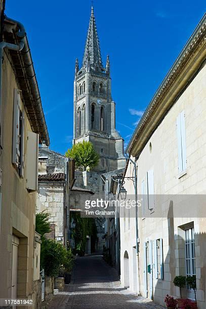 Eglise Monolith Monolithic Church in quaint traditional town of St Emilion Bordeaux France