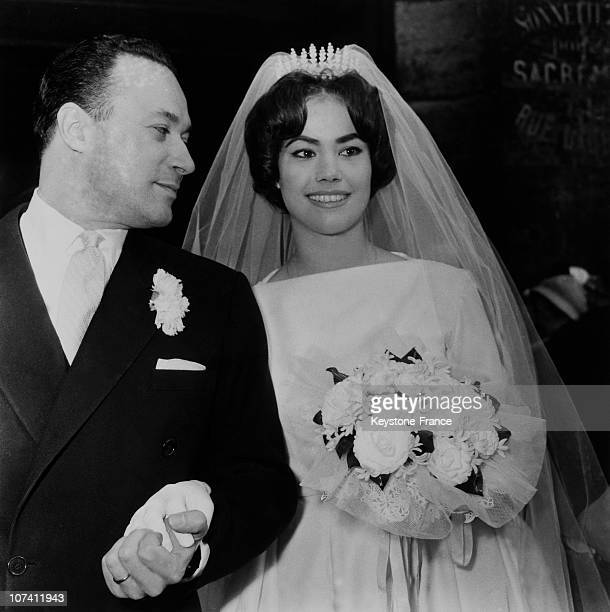 Eglise Saint Medard Wedding Of Claudine Auger And Pierre Gaspard Huit In Paris In 1959