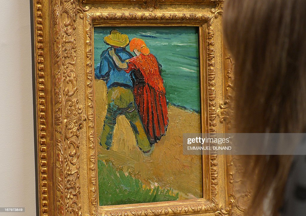 'Eglogue en Provence' by Vincent van Gogh is on display during a preview of Sotheby's Impressionist and Modern Art sales in New York, May 3, 2013. Sotheby's is scheduled to hold its Impressionist and Modern Art sales May 7. AFP PHOTO/Emmanuel Dunand ++RESTRICTED