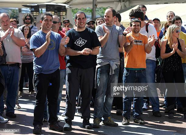 Egoi Alberdi Aitor Olaizola Ekaitz Ezkerra and Mikel Arretxe pose during a protest against their incarceration in the northern Spanish Basque city of...