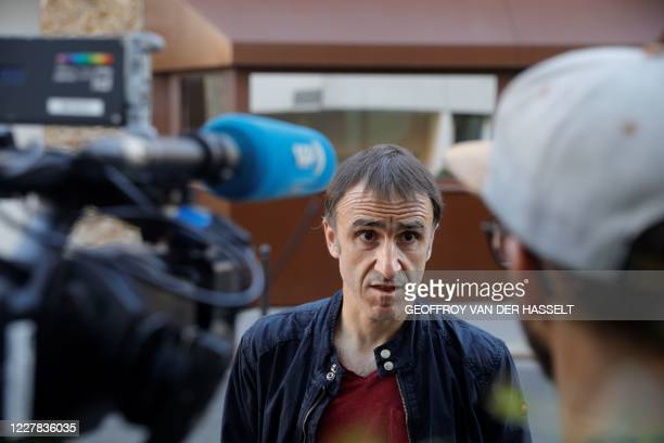 Egoitz Urrutikoetxea, son of former head of ETA Jose Antonio Urrutikoetxea also known as Josu Ternera, speaks to medias upon the conditional release...