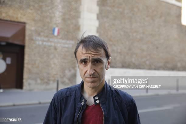 Egoitz Urrutikoetxea son of former head of ETA Jose Antonio Urrutikoetxea also known as Josu Ternera looks on as he speaks to medias upon the...