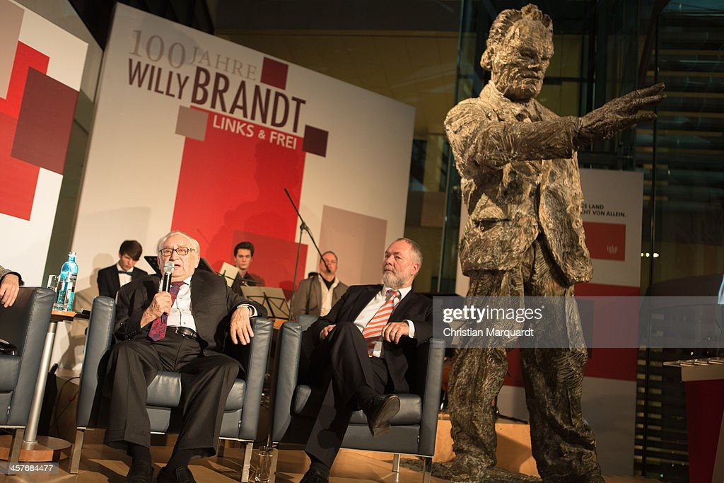 Egon Bahr and Markus Meckel talk during the celebration '100th Anniversary of Willy Brandt' on December 18, 2013 in Berlin, Germany. Brandt was born on December 18, 1913 and he was the 4th Chancellor of the Federal Republic of Germany.