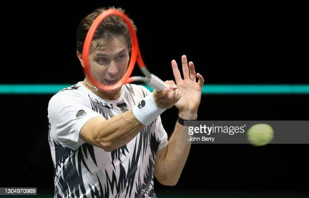 Egor Gerasimov of Belarus during his first round match against Stefanos Tsitsipas of Greece on day 2 of the 48th ABN AMRO World Tennis Tournament at...
