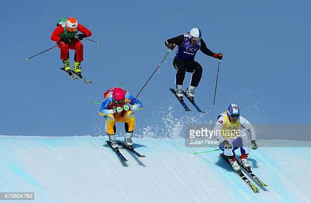 Egor Korotkov of Russia Jouni Pellinen of Finland Norberg V Oehling of Sweden and Armin Niederer of Switzerland make a jump in the quarter finals...