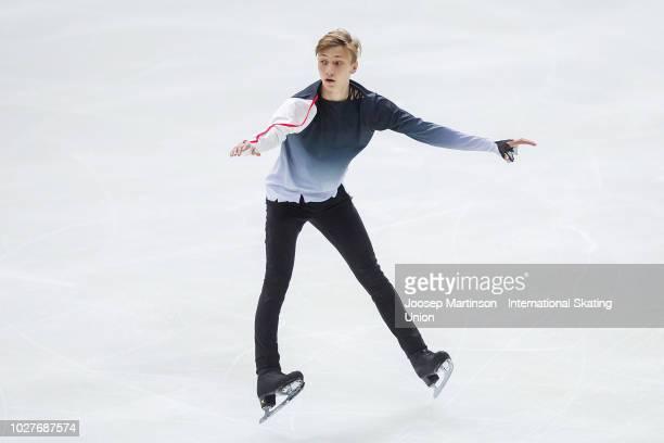 Egor Murashov of Russia competes in the Junior Men's Short Program during the ISU Junior Grand Prix of Figure Skating Amber Cup 2018 at Zalgirio...