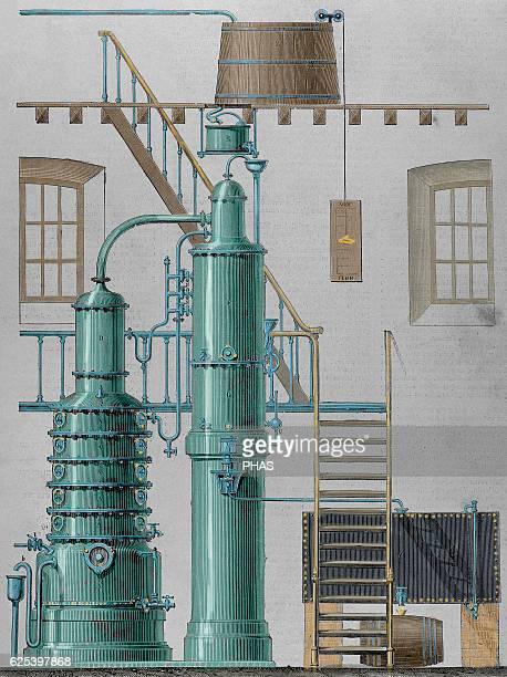 Egrot apparatus Alcohol destillation Gold medal Exposition of Paris 1878 Engraving by Victor Rose La Ilustracion Espanola y Americana 1897 Colored