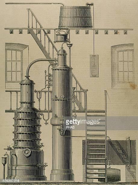 Egrot apparatus Alcohol distillation Gold medal Exposition of Paris 1878 Engraving by Victor Rose La Ilustracion Espanola y Americana 1897