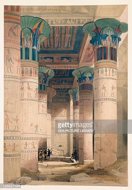 Egypt 19th century Interior of the Grand Portico of the Temple of Philae Engraving based on a drawing by David Roberts from 'Egypt and Nubia' 18461850