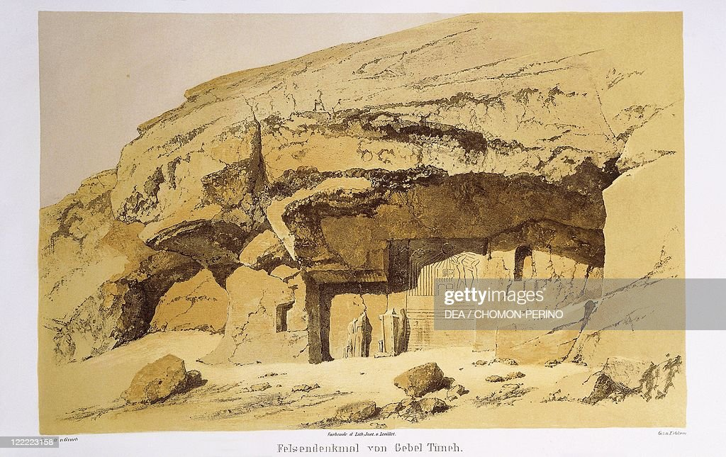 """Egypt, Tuna el-Gebel, Stele of Akhenaten carved into rock, engraving from """"Monuments of Egypt and Ethiopia"""", by Richard Lepsius  : News Photo"""