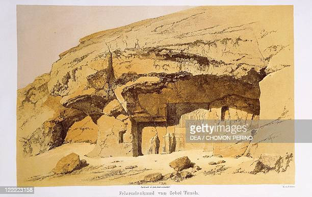 Egypt 19th century Stele of Akhenaten carved into the rock at Tuna elGebel Engraving from Monuments of Egypt and Ethiopia by Richard Lepsius 184959