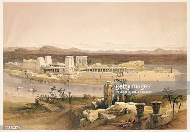 Egypt 19th century View of the Island of Philae November 14 1838 Engraving based on a drawing by David Roberts from Egypt and Nubia 18461850