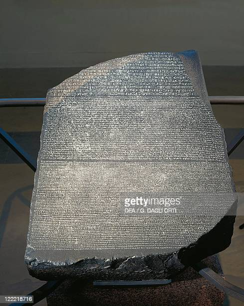 Egypt 2nd century bC Rosetta Stone with inscription celebrating the first anniversary of the coronation of Ptolemy V in three scripts Egyptian...
