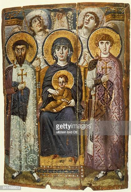 Egypt 6th century Mary with the child Jesus and the Saints Theodore and George. - icon from Saint Catherine's Monastery on Mount Sinai, Egypt - 6th...