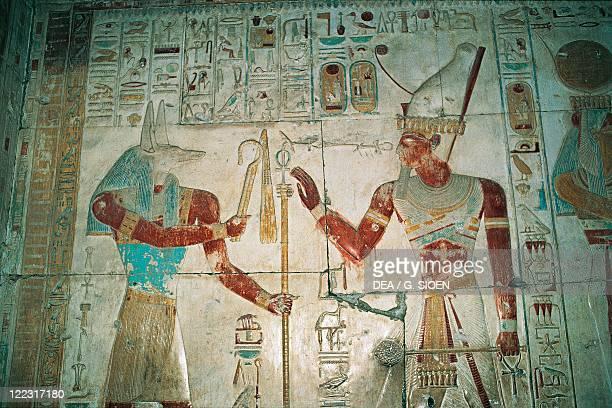 Egypt Abydos Temple of pharaoh Seti I New Kingdom Dynasty XIX Osiris chapel Detail painted relief