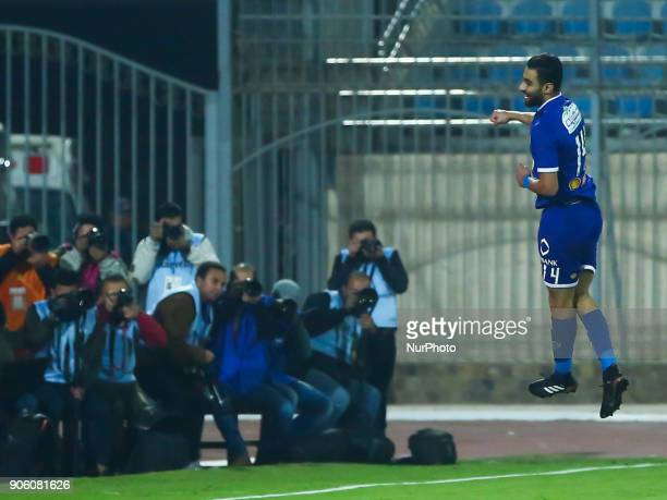 Egypt AlAhli player Amr Solia celebrates his goal scored Against AlGish during the Egypt Primer League Fixtures 18 Match Between AlAhly and AlGish in...
