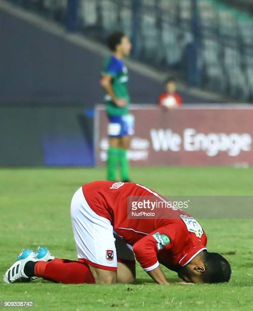 Egypt AlAhli player Saad Samir celebrates his goal scored Against AlMakkasa during the Egypt Primer League Fixtures 19 Match Between AlAhly and...
