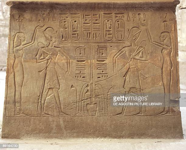 Egypt Ancient Thebes Karnak Temple of Khons Sanctuary Court Detail of solar altar Relief of symbols of unified Upper and Lower Egypt Seth and Horus