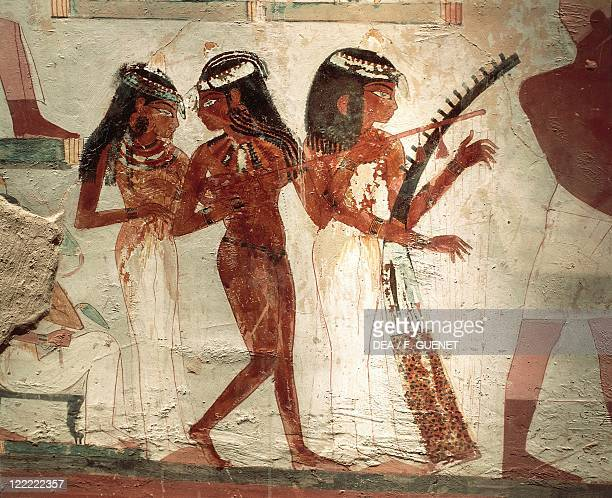 Egypt Ancient Thebes Luxor Sheikh 'Abd alQurna necropolis Tomb of Nakht New Kingdom Dynasty XVIII Detail of fresco depicting musicians at a funerary...