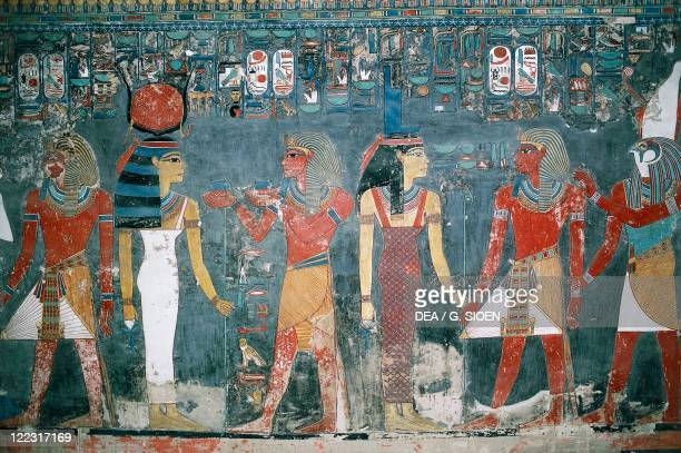 Egypt Ancient Thebes Luxor Valley of the Kings Tomb of Horemheb New Kingdom Dynasty XVIII Mural painting