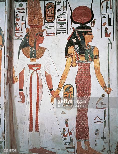 Egypt Ancient Thebes Luxor Valley of the Queens Tomb of Nefertari Detail of frescoes in the burial chamber Queen Nefertari preceded by Isis