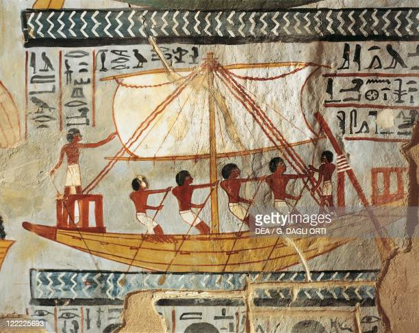 Egypt Ancient Thebes Shaykh 'Abd alQurnah Tomb of Senneferi Boat on river Nile mural painting