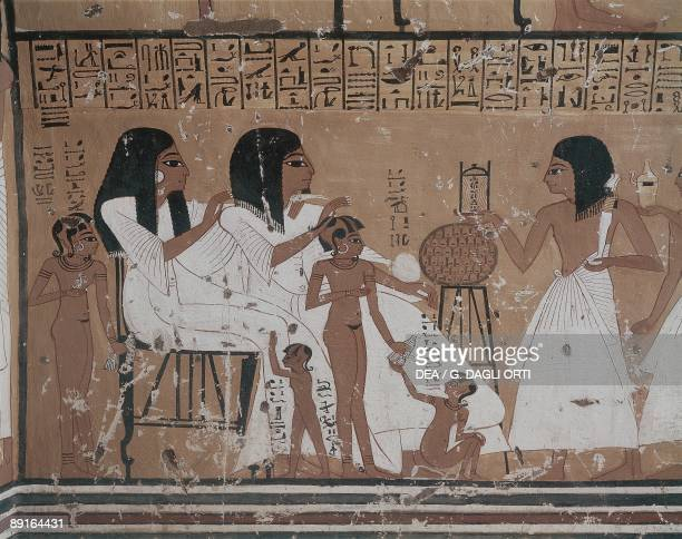 Egypt Ancient Thebes Tomb of KhaiInherkha mural of women with children