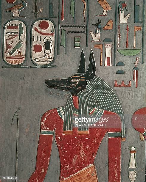 Egypt Ancient Thebes Valley of the Kings Mural of Anubis at Tomb of Horemheb