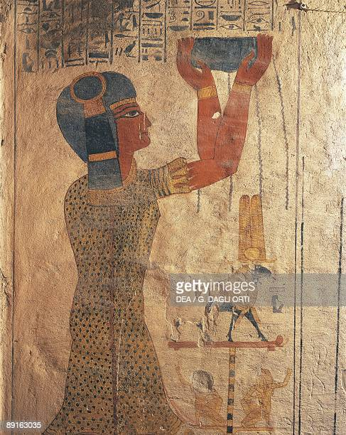 Egypt Ancient Thebes Valley of the Kings mural of priest at tomb of Ramses IX