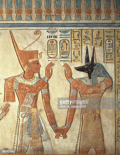 Egypt Ancient Thebes Valley of the Queens mural of Ramses III and god Anubis