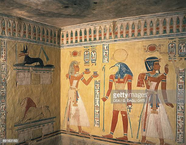 Egypt Ancient Thebes Valley of the Queens murals in Tomb of Khaemuaset