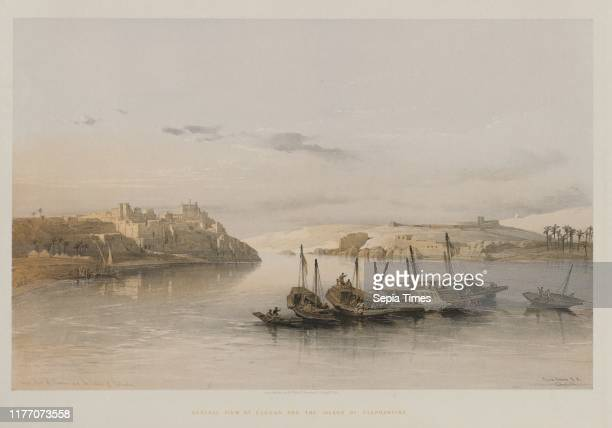 General View of Esouan and the Island of Elephantine 1848 Louis Haghe FGMoon 20 Threadneedle Street London after David Roberts Color lithograph sheet...