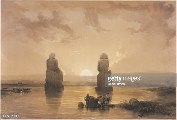 Statues of Memnon at Thebes during the Inundation 1848 Louis Haghe FG Moon 20 Threadneedle Street London after David Roberts Color lithograph sheet...