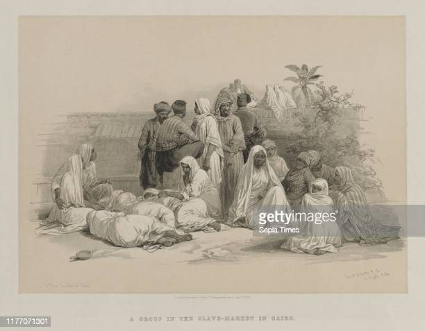 In the Slave Market at Cairo 1849 Louis Haghe FGMoon 20 Threadneedle Street London after David Roberts Color lithograph sheet 374 x 436 cm image 251...