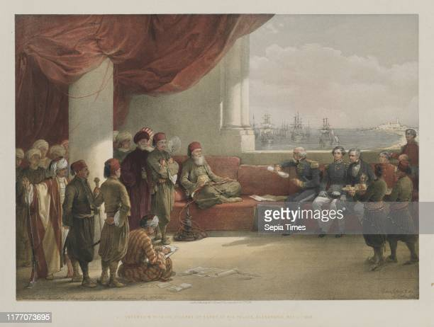 Interview with the Viceroy of Egypt at his Palace Alexandria 1848 Louis Haghe FGMoon 20 Threadneedle Street London after David Roberts Color...