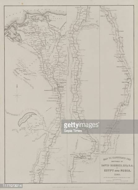 Map to Illustrate the Sketches of David Roberts Esq RA in Egypt and Nubia 1849 1849 Louis Haghe FGMoon 20 Threadneedle Street London after David...