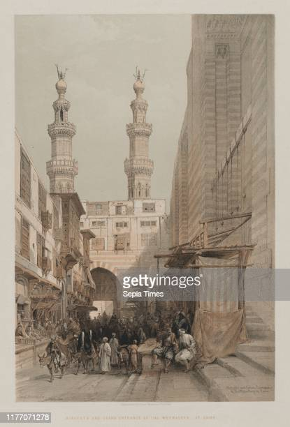 Minarets and Grand Entrance of the Metwaleys at Cairo 1848 Louis Haghe FGMoon 20 Threadneedle Street London after David Roberts Color lithograph...
