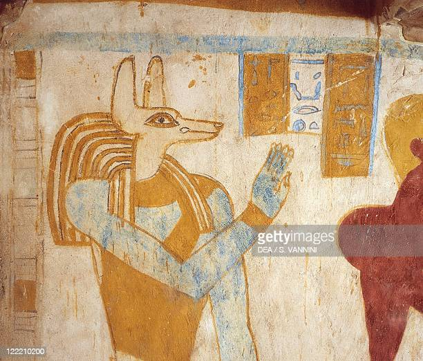 Egypt Baharia Giza Tomb of Pa Nentwy Detail of mural paintings of the Late Period Dynasty XXVI 663525 BC