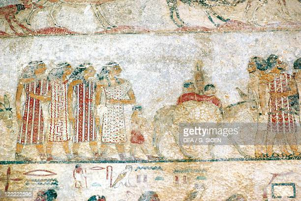 Egypt BeniHasan Necropolis Tomb of Khnumhotep III Detail mural painting depicting an Asiatic caravan Middle Kingdom