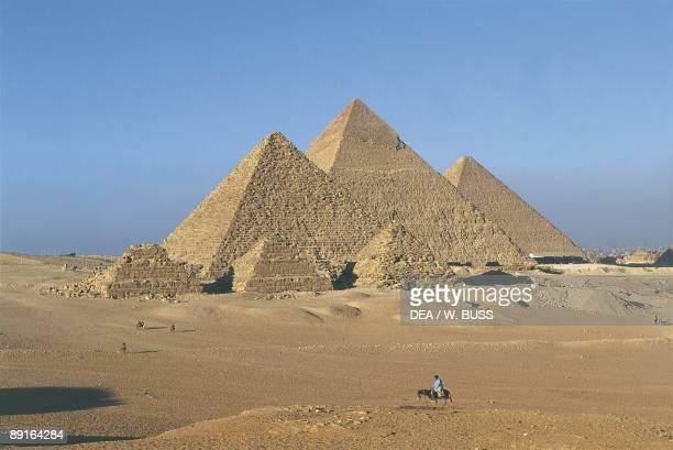 Egypt Cairo Ancient Memphis Pyramids of kings Khufu Khafre and Menkaure at Giza