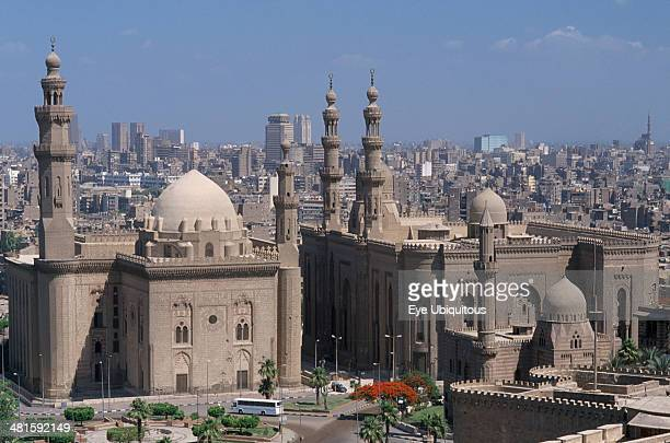 Egypt Cairo Area Cairo Sultan Hassan Mosque on the left and the later built El Rifai Mosque on the right seen from the Citadel