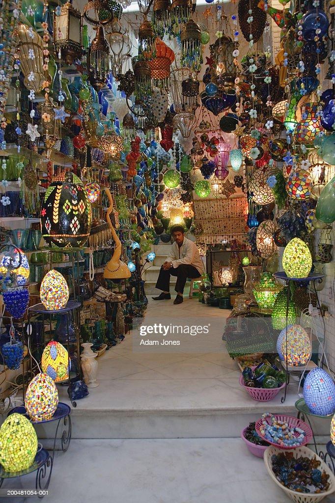 Egypt Cairo Khan Al Khalili Man Selling Lamps In Bazaar