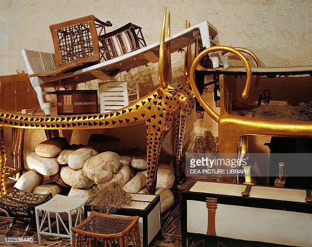 Egypt Cairo Pharaonic Village Replica of King Tutankhamen's tomb as was found by Howard Carter at the time of discovery in November 1922 Antechamber...