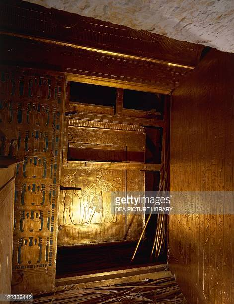 Egypt - Cairo - Pharaonic Village. Replica of King Tutankhamen's tomb as was found by Howard Carter at the time of discovery, in November 1922....