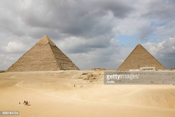 the Pyramid of Khafre and the Great Pyramid of Giza on the Giza Plateau