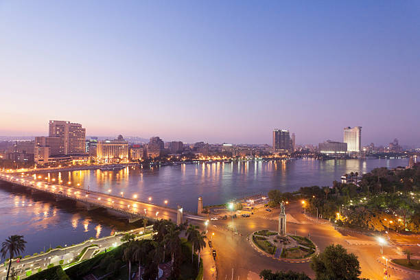 Egypt, Cairo, View Of Bridge With River Nile Wall Art