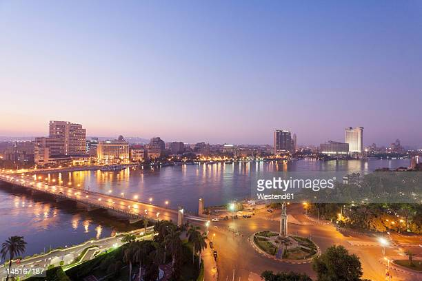 Egypt, Cairo, View of bridge with River Nile