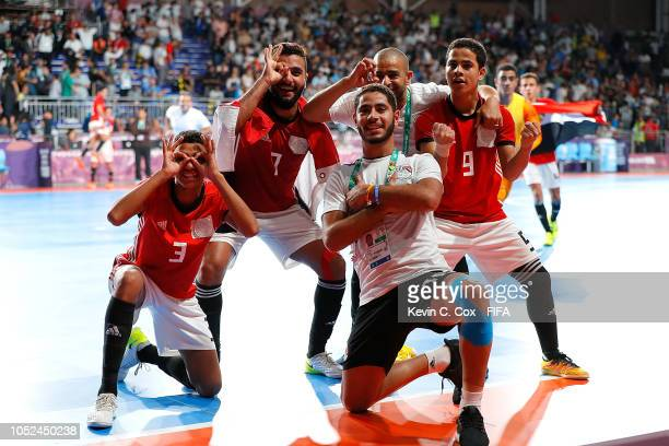 Egypt celebrates their 54 win over Argentina in the Men's Futsal 3rd Place match between Egypt and Argentina during the Buenos Aires Youth Olympics...